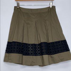 LOFT • Pleated Olive Eyelet Cotton Skirt